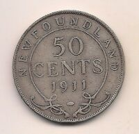 1911  NEWFOUNDLAND SILVER FIFTY CENT    STRONG DETAILS