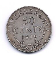 1919 C NEWFOUNDLAND SILVER FIFTY CENT  ONLY 306 267 MINTED