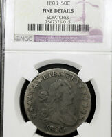 1803 FINE DETAILS SCRATCHES DRAPED BUST HALF DOLLAR 50C, NGC GRADED