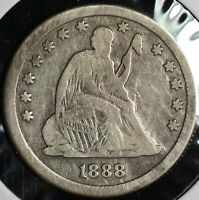 1888 S SEATED LIBERTY SILVER QUARTER 25C COIN