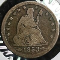 1853 SEATED LIBERTY SILVER QUARTER 25C COIN