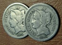 1870S LOT  NICKEL THREE CENT PIECE COINS 1870 1871 OLD US 3C