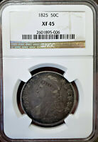 WOW  EXTRA FINE -45 1825 CAPPED BUST HALF DOLLAR NGC   LOOKING COIN IN HAND