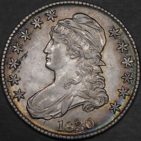 1830 SMALL 0 CAPPED BUST HALF DOLLAR 50C - ABOUT UNC AU - COLORFUL TONING