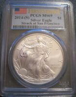 2014 S SILVER EAGLE 1 OZ MINT STATE 69 FIRST STRIKE PCGS // FLAG LABEL // MC 306