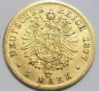 1877 E SAXONY 5 MARK GOLD COIN GERMAN STATES GERMANY EXTRA FINE EF KM 1239
