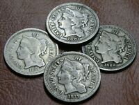 4 COIN 3C DATE RUN LOT OLD NICKEL THREE CENT PIECES 1868 186