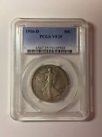 1916-D WALKING LIBERTY SILVER 50C KEY 1ST YEAR DATE US COIN PCGS VF25