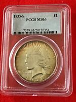 1935-S PEACE DOLLAR PCGS MINT STATE 63 - W/BEAUTIFUL NATURALLY FRAMED TONE -  CHOICE
