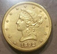 1892 S LIBERTY HEAD $10 GOLD EAGLE TEN DOLLARS BU UNC UNCIRCULATED DETAILS