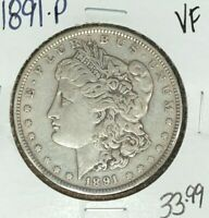 1891-P MORGAN SILVER DOLLAR  VF  COIN