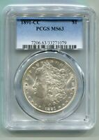 1891-CC MORGAN SILVER DOLLAR PCGS MINT STATE 63 WHITE TOP 100 VAM 3 SPITTING EAGLE