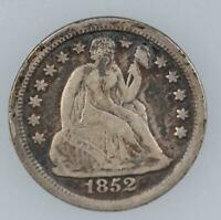 1852 SEATED LIBERTY DIME -  DETAILS - DOUBLEJCOINS - 4004-16