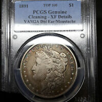 1891 P EXTRA FINE  DETAILS CLEANED VAM-2A MORGAN SILVER DOLLAR $1, PCGS GRADED TOP100 VAM