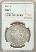 1883-S MORGAN SILVER DOLLAR NGC MINT STATE 63