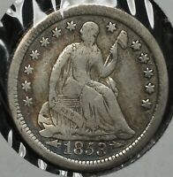 1853 O H10C LIBERTY SEATED SILVER HALF DIME COIN