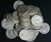 LOT OF 40 MIXED DATE WASHINGTON 90  SILVER QUARTERS 25C COIN