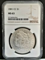 1881-CC MORGAN DOLLAR $1 CARSON CITY COIN - NGC MINT STATE 63