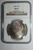 1882 S MORGAN SILVER DOLLAR MINT STATE 65 TONED NGC 035