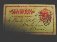 1882 89 HAWAII SHUX1   1C RED POSTCARD & BUFF BACKROUND WRIT