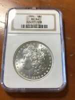 1886 MORGAN SILVER DOLLAR- NGC MINT STATE 64 - OLD HOLDER -  LUSTER