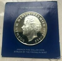1973 JAMAICA 5 DOLLARS SILVER PROOF   NORMAN MANLEY