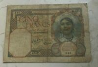 1941 ALGERIA 5 FRANCS   WORLD CURRENCY BANK NOTE