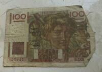 1949 FRANCE 100 FRANCS   WORLD CURRENCY BANK NOTE