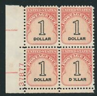 SCOTT J100 MNH PLATE BLOCK $1 POSTAGE DUE MNH WITH PART OF O