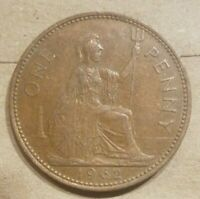 1962 GREAT BRITAIN PENNY UNITED KINGDOM 1 PENCE BRITISH ENGLISH ENGLAND UK