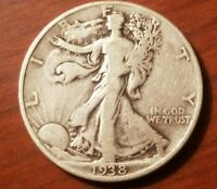 1938 P WALKING LIBERTY HALF DOLLAR 50 CENTS SILVER COIN FIFTY 1/2 VF FINE