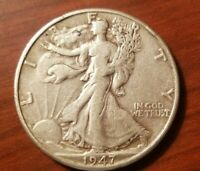 1947 D WALKING LIBERTY HALF DOLLAR 50 CENTS SILVER COIN FIFTY 1/2 AU ABOUT UNC