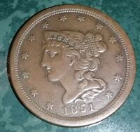 1851 BRAIDED HAIR HALF CENT GREAT COLOR