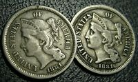 LOT  2  BETTER GRADE 1881 NICKEL THREE CENT PIECE COINS OLD