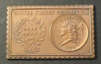 1793 UNITED STATES LIBERTY CAP 1/2 HALF CENT NUMISTAMP LARGE MEDAL 1976  REED