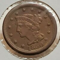 1850 BRAIDED HAIR LARGE CENT CIRCULATED