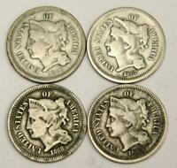 1865 1867 1868 AND 1869 NICKEL THREE CENT COINS USA 4-COINS VG OR BETTER