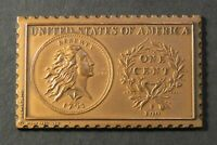 1793 UNITED STATES FLOWING HAIR WREATH LARGE CENT NUMISTAMP MEDAL 1978 MORT REED