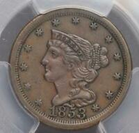 1853 BRAIDED HAIR HALF CENT PCGS AU DETAILS CLEANING DOUBLEJCOINS 5007-57