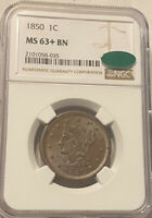 1850 CAC NGC MINT STATE 63  BN BRAIDED HAIR LARGE CENT COIN BEAUTIFUL GEM  LUSTER