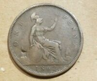 1862 GREAT BRITAIN PENNY UNITED KINGDOM PENCE BRITISH ENGLISH ENGLAND 1P COIN