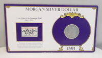 1891 US MINT MORGAN 90 SILVER $1 DOLLAR COIN & 5 CENT STAMP  SHIPS FREE
