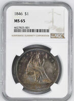 1846 LIBERTY SEATED S$1 NGC MINT STATE 65