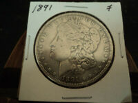 1891P MORGAN $1.00 DOLLAR 90 SILVER COIN F TO VF