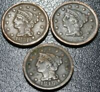 LOT 3 BRAIDED HAIR LARGE CENT COINS 1849 1851 1855 SLANTED ?
