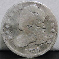 1834 CAPPED BUST DIME - HEAVILY CIRCULATED