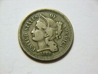 1869 VF-/F 3 CENT NICKEL,   LOW MINTAGE VINTAGE COIN FOR ANY COLLECTION