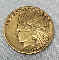 1908 S $10 INDIAN GOLD COIN WITH MOTTO   UNGRADED