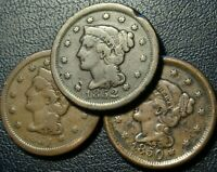 3 COIN 1850S BRAIDED HAIR LARGE CENT DATE RUN LOT 1850 51 52