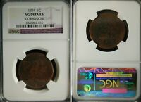1794 LIBERTY FLOWING HAIR NGC GRADED VG DETAIL LARGE CENT UN